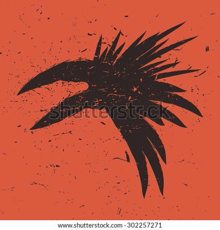 Abstract crow head illustration. Vector raven head on the orange background. - stock vector