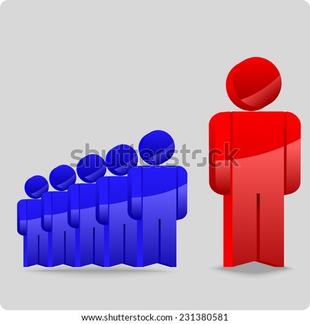 abstract crowd and unique figure of the chief allocated in the red color - stock vector