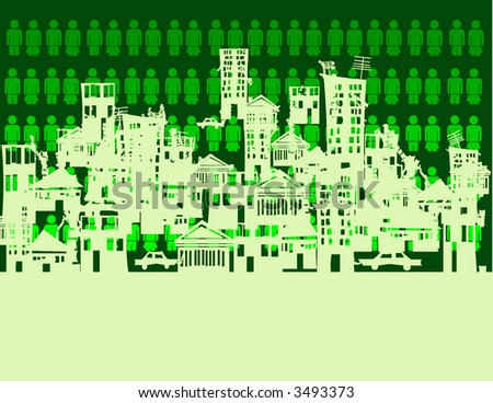 abstract crowded city - green . vector illustration