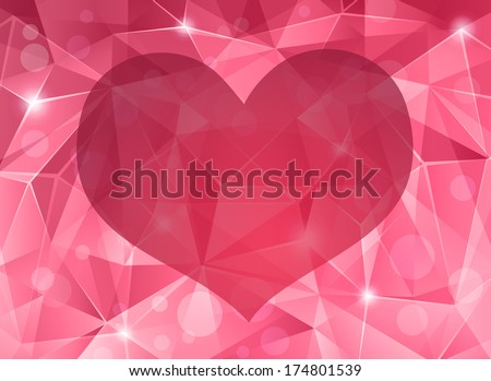 Abstract crystal background with heart. - stock vector