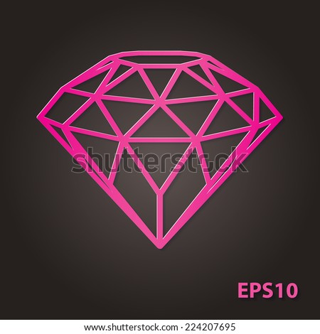 Abstract crystal diamond icon in pink magenta colored paper cut out style with soft shadow isolated on dark gray background. Vector illustration.  - stock vector