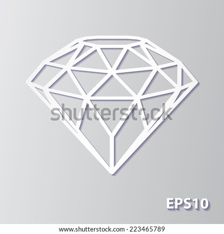 Abstract crystal diamond icon in white paper cut out style with soft shadow isolated on gray background. Vector illustration.  - stock vector