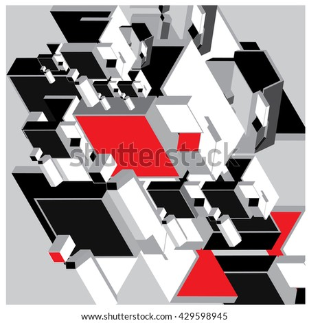 Abstract cube composition design and  background illustration