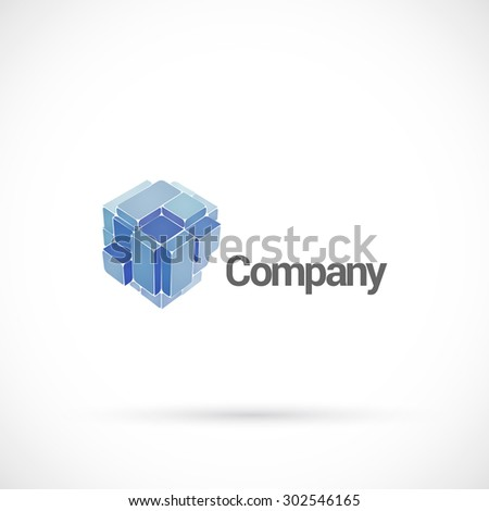Abstract cube logo design vector template. - stock vector