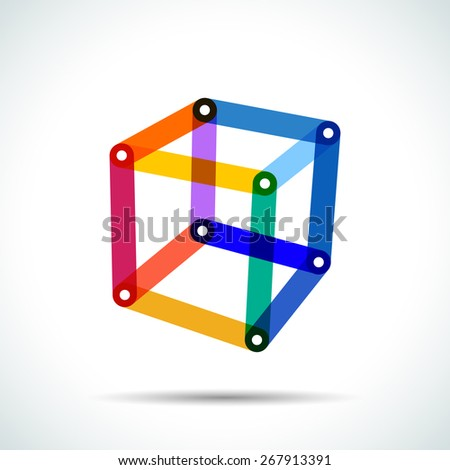 Abstract cube logo with intersecting transparent lines and dots - stock vector