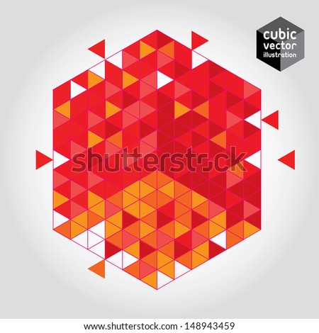 Abstract cube red design element. Layered file - stock vector