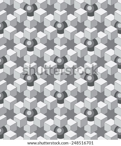 abstract cubes and balls - stock vector