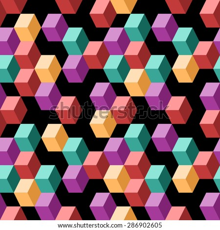 Abstract cubes seamless pattern on black background. Color squares texture with dark backdrop. Vector multicolor geometric shapes texture. Simple mosaic illustration for web and print design. - stock vector