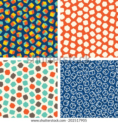 Abstract cubes seamless pattern. Set of four geometric backgrounds