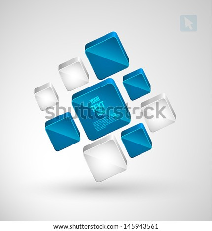Abstract cubes with place for text. Vector illustration. - stock vector