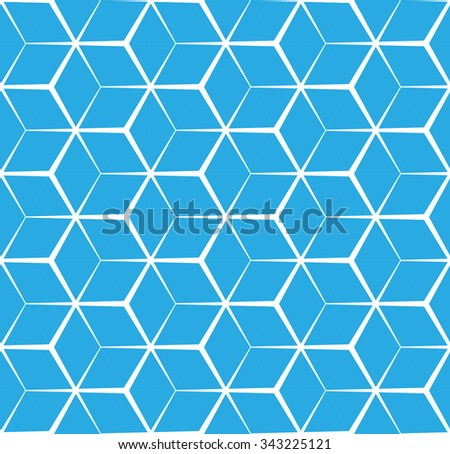 Abstract cubic blue background, seamless pattern - stock vector