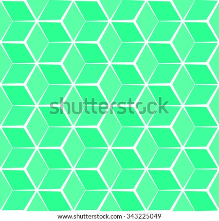 Abstract cubic green background, seamless pattern - stock vector