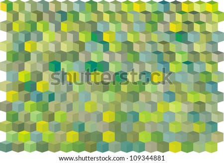 abstract cubical multiple green yellow pattern backdrop - stock vector