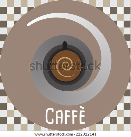 Abstract Cup of Coffee on a Pattern Background - Vector Illustration - stock vector