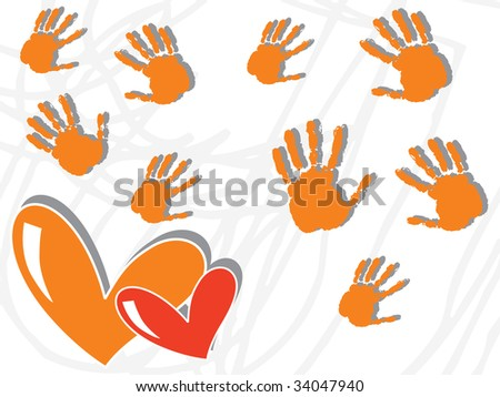 abstract curve lines background with hand prints and hearts - stock vector