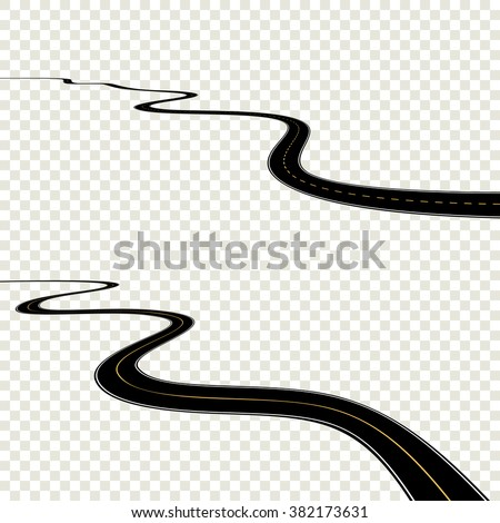 Abstract curved road asphalt, roads isolated on transparent background, winding road horizon, long road turns. Black road windings set. Vector EPS10 - stock vector