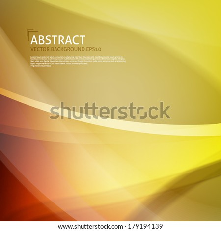 Abstract curves background. Orange, yellow, gold colors - stock vector