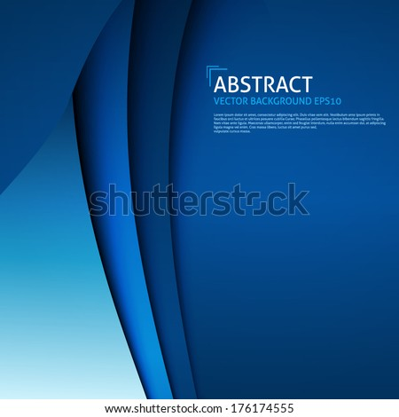 Abstract Curves Blue Background Vector - stock vector