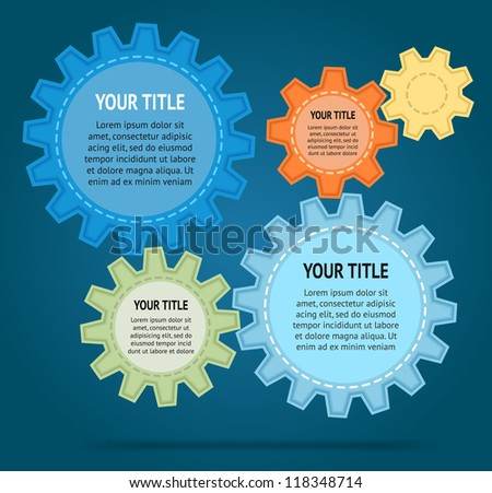 Abstract cut color gear wheels on blue background. Vector design template