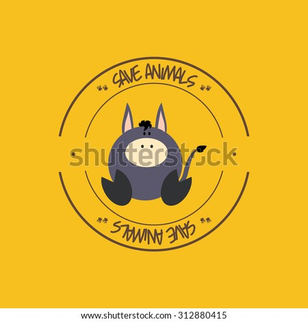 Abstract cute animal on a round label. - stock vector
