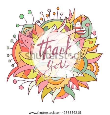 Abstract cute background with cloud with thank you words and bird on white background - stock vector