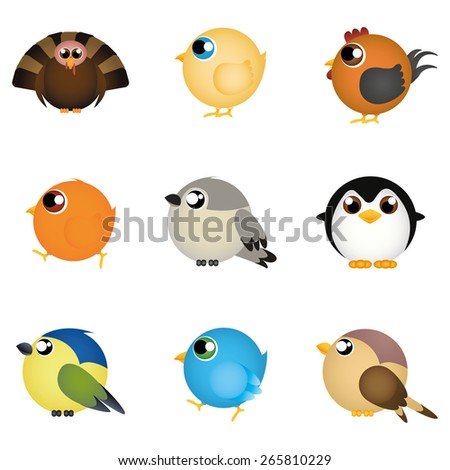 abstract cute birds on a white background