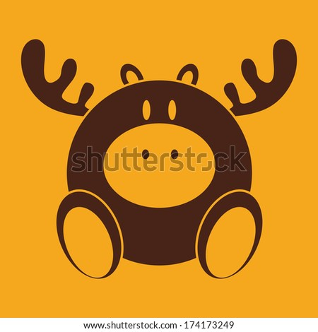 abstract cute deer on a yellow background - stock vector