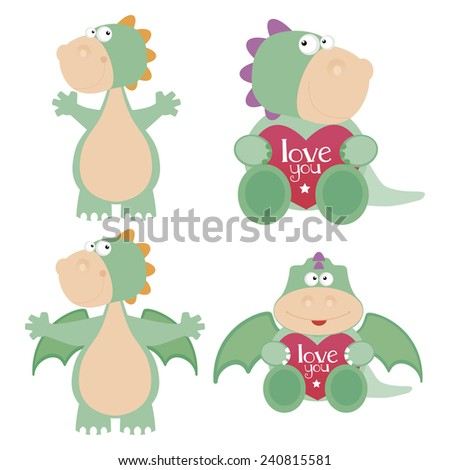 abstract cute dinosaurs on a white background