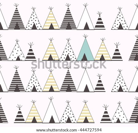 Abstract Cute Teepee Design Stripes Line Stock Vector 444727594