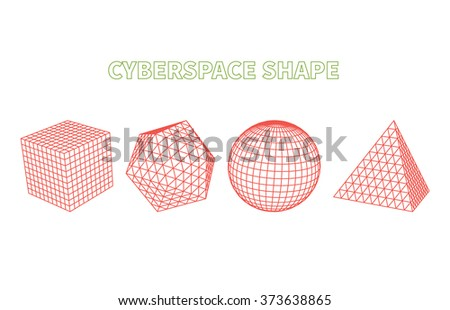 Abstract cyberspace geometric shapes. Cyberspace grid. 3d technology cyberspace grid. Technology cube square circle triangle computer graphic. Futuristic technology. Three-dimensional abstract vector - stock vector