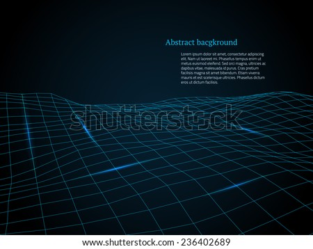 Abstract cyberspace grid. Vector illustration. - stock vector