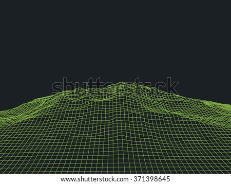 Abstract cyberspace landscape background. Cyberspace grid. 3d technology cyberspace grid. Light technology background for computer graphic. Futuristic technology. Three-dimensional abstract vector - stock vector