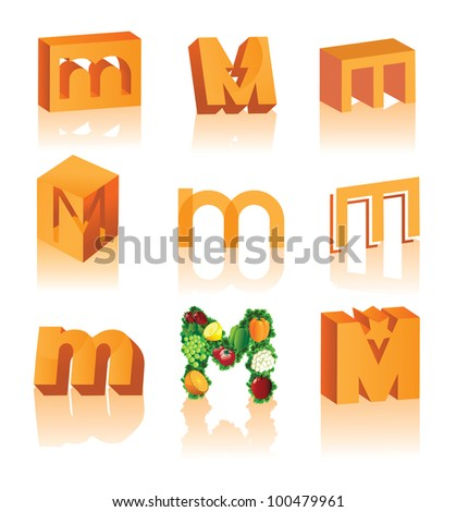 Abstract 3D Alphabet Letter M Symbol Icon Set EPS 8 vector grouped for easy editing.