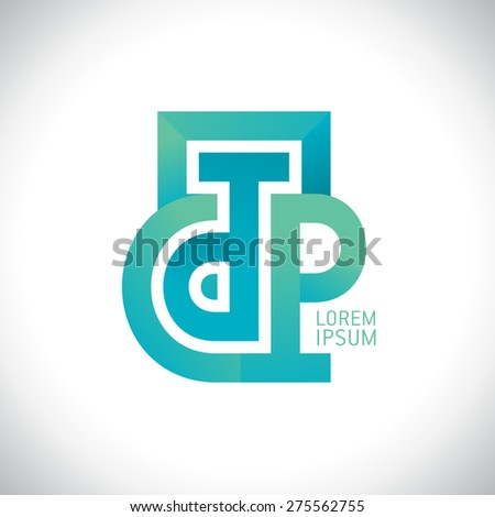 Abstract D and P letters logo, or C T P letters. - stock vector