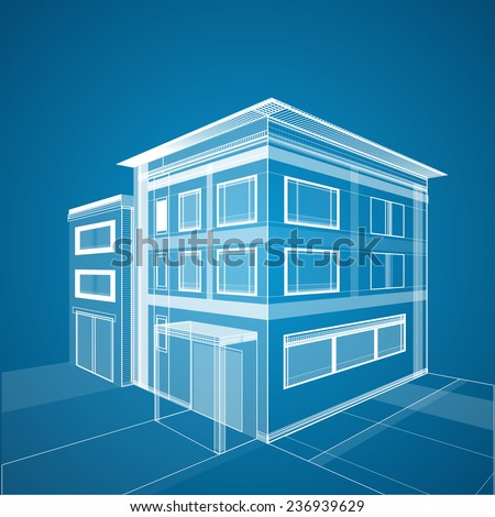 Abstract 3D architecture background. Building wireframe - stock vector