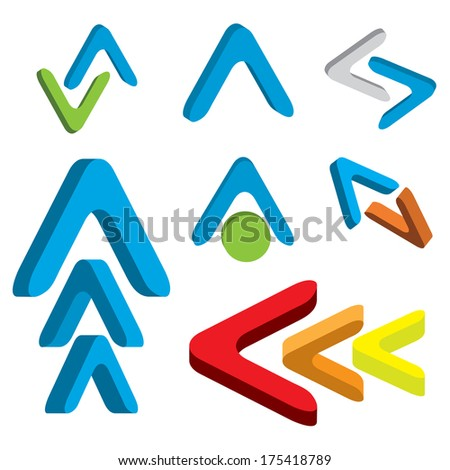 Abstract 3d arrow icon set colorful