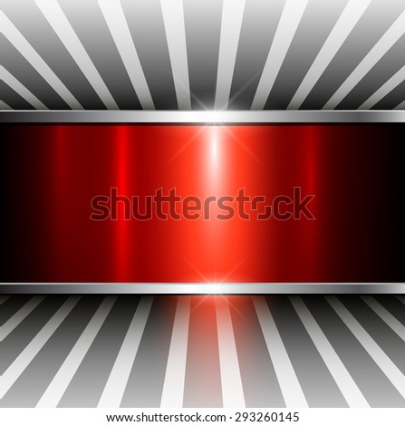 Abstract 3D background, red metallic, vector illustration. - stock vector