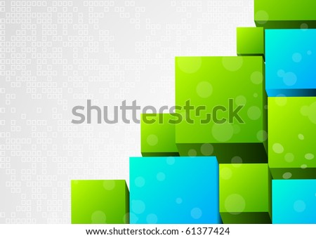Abstract 3d background with block - stock vector