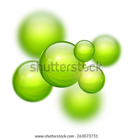 Abstract 3D background with green balls, blurred mesh gradients vector design. - stock vector
