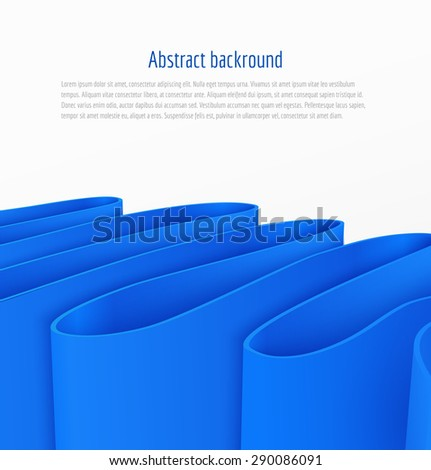 Abstract 3d blue paper ribbon background brochure template business presentation. Vector illustration - stock vector