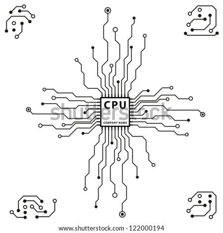 Abstract 2 D Circuit Board Cpu Design Stock Vector 122000194 ...