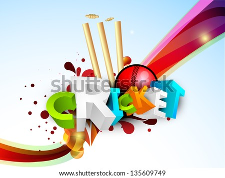 Abstract 3D colorful text Cricket with ball and stumps on wave background. - stock vector
