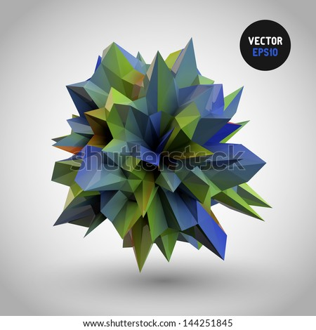 Abstract 3D crystal on gradient background (vector eps10) - stock vector