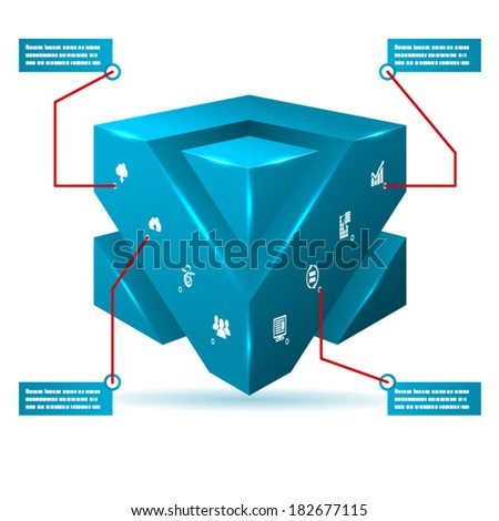 Abstract 3d Cube Isolated Infographic with Isometric Icons Vector Illustration - stock vector