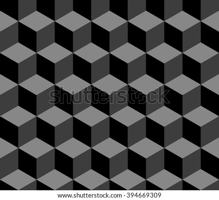 Abstract 3d cubes geometric seamless pattern in black and white, vector - stock vector