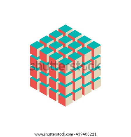 Abstract 3d cubes. Isometric style. Isolated on white background. Vector colorful illustration. - stock vector
