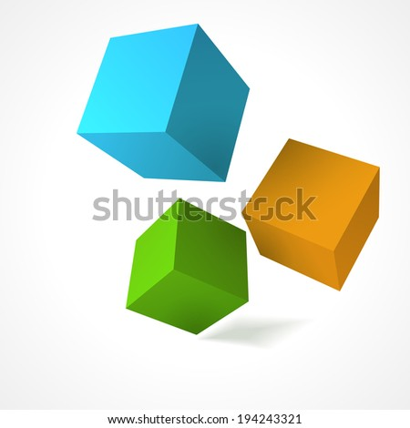 Abstract 3d cubes  vector background - stock vector