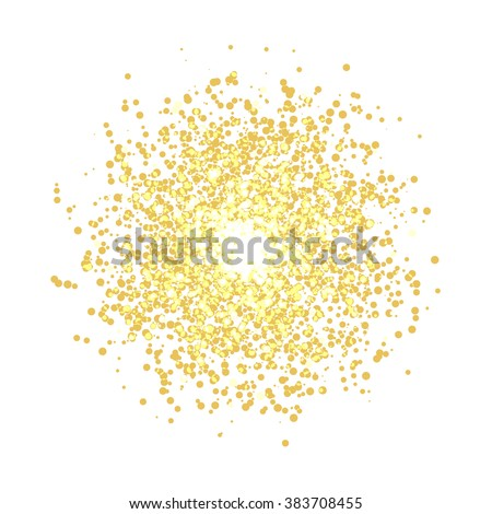 Abstract 3d design element, emblem. Different gold lights dots on white background.  Glitter Texture. Explosion of Confetti Circles. Vector illustration.
