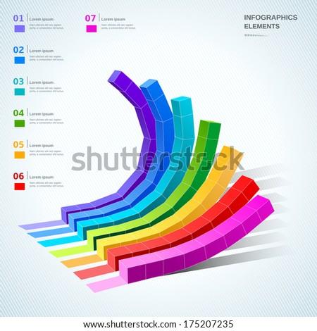 abstract 3d digital illustration graph set  - stock vector