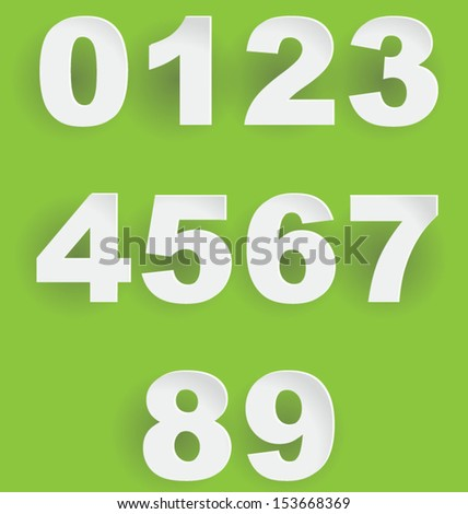 Abstract 3D digits with shadows, look good on coloured background - stock vector